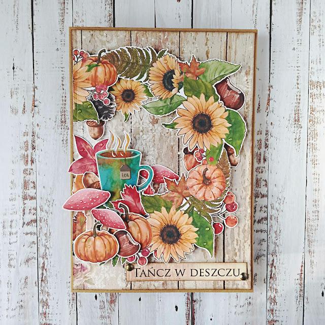 Jesienna kartka z wiankiem i dynią