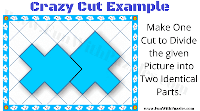 This image show the answer to the Crazy Cut Example Puzzle