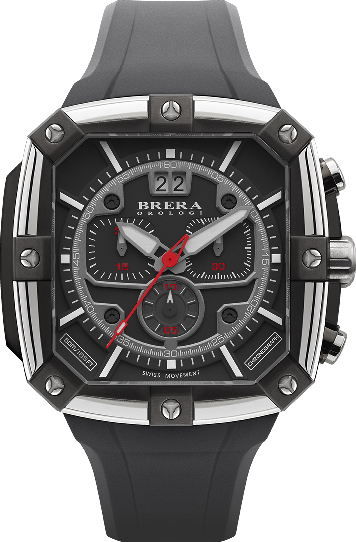 341f85a65a2 movimento Svizzero e cronografo con cristallo zaffiro sfaccettato. Brushed  Sunray stainless steel with rubber strap