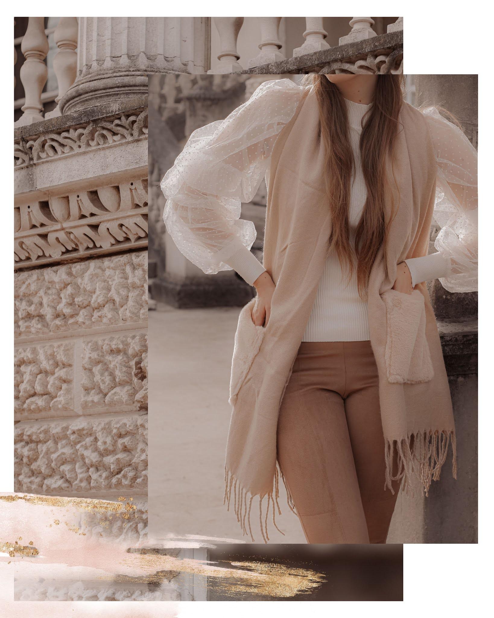 Moda in Pelle beige faux fur scarf