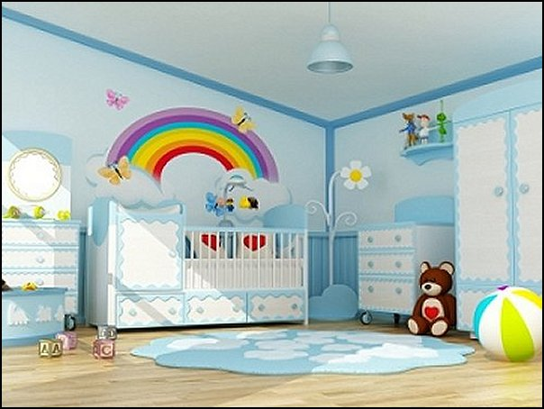 rainbow wall decal  rainbow mural rainbow bedroom decorating ideas  clouds wallpaper - clouds wall decals