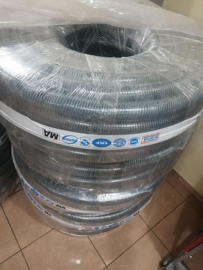 """MANGUERA DE PVC TRANSPARENTE ALAMBRADA de 2"""" x 50 m"""