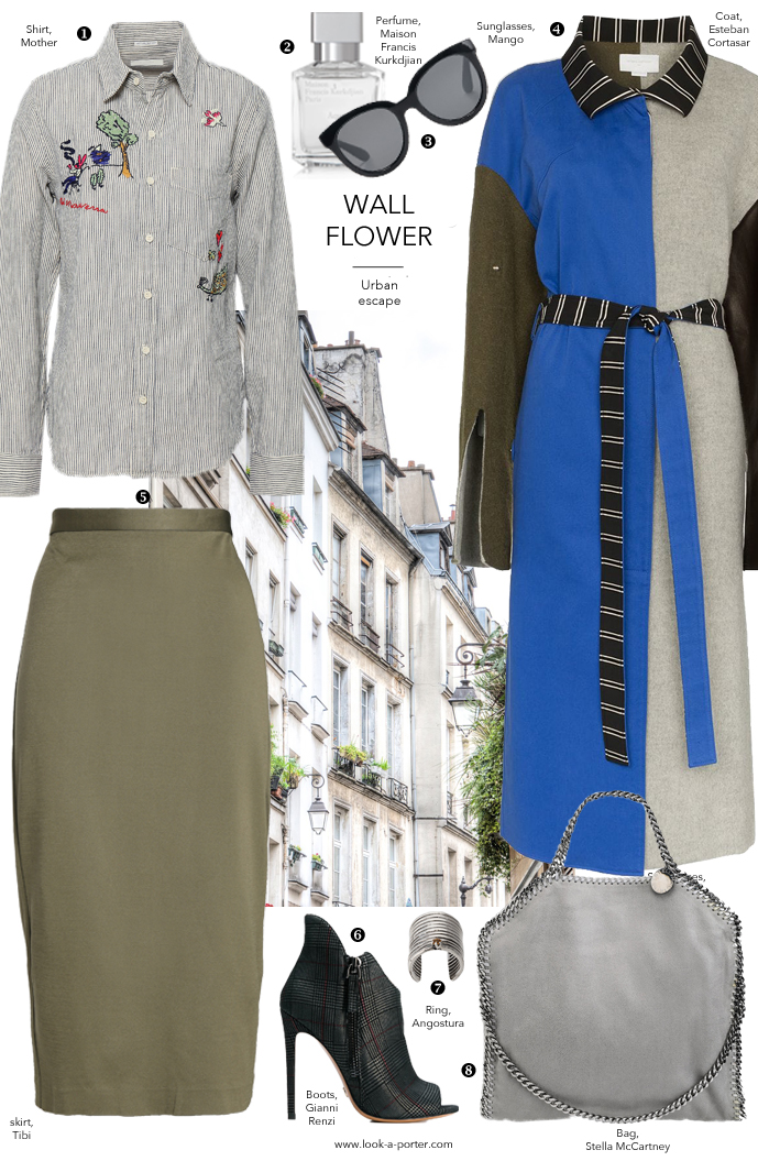 Styling a classic shirt with midi skirt for a casual and work outfit with Esteban Cortasar, Stella McCartney, Mother, Tibi and Angostura jewellery for look-a-porter.com fashion blog, daily outfit ideas, designer look for less, best buys, wardrobe statement pieces