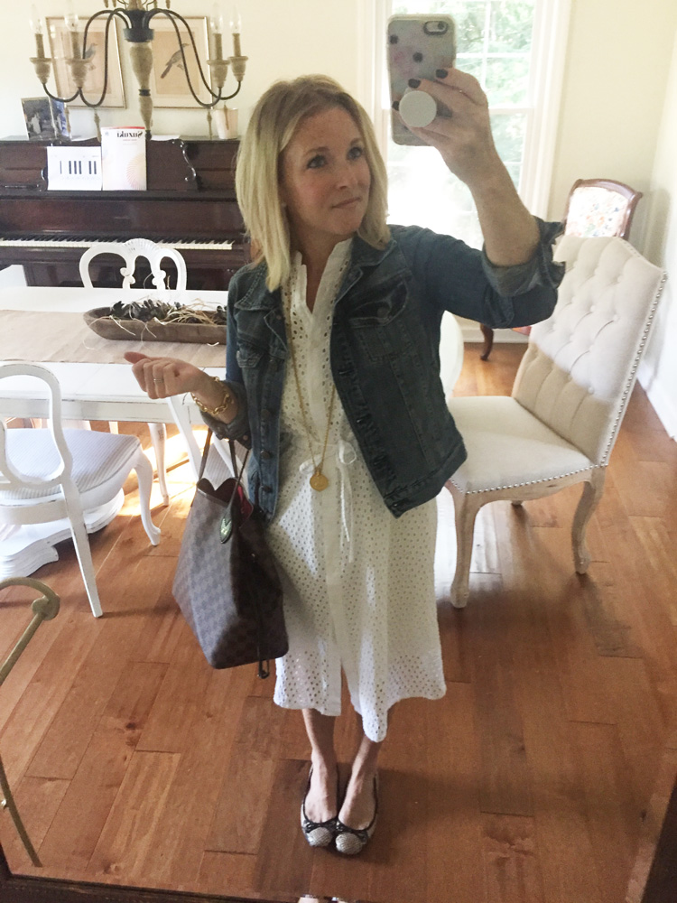 white lace dress with a denim jacket