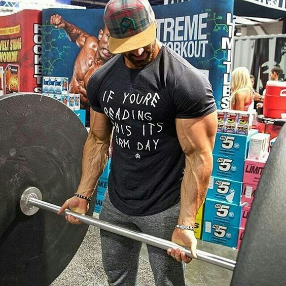 """If You're Reading This Its Arm Day"" t-shirt worn by Bradley Martyn. PYGear.com"