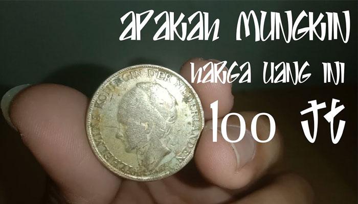 Uang Koin Kuno Wilhelmina 1 Gulden