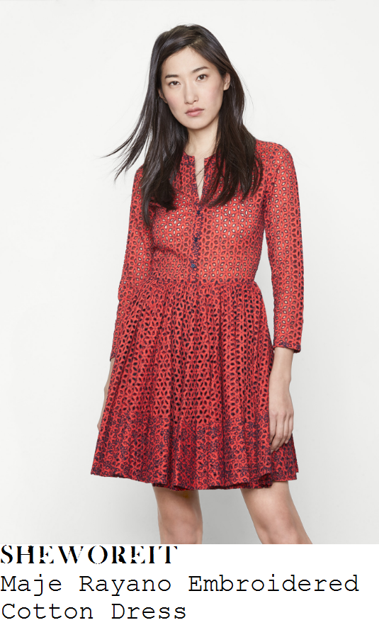 rebecca-adlington-maje-rayano-coral-red-and-navy-blue-sheer-embroidered-floral-broderie-anglaise-three-quarter-sleeve-v-neck-button-up-high-waisted-a-line-fit-and-flare-dress