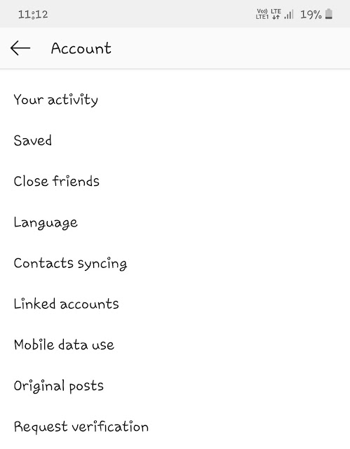 Account - Mobile data use option in Instagram settings
