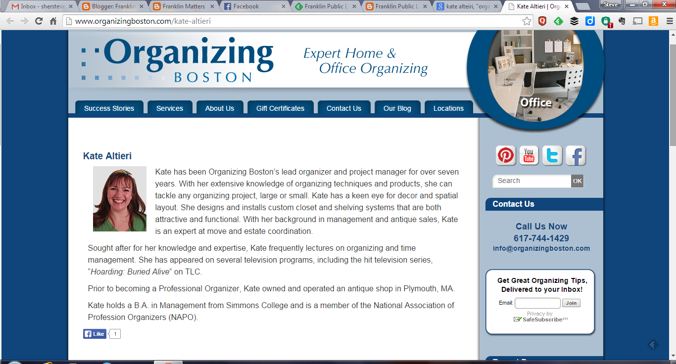 screen grab of Kate's info on the Organizing Boston webpage
