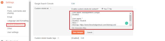 blogspot robot.txt setting