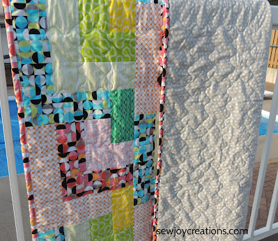 quilted Dropping In quilt backing binding Good Vibes fabric