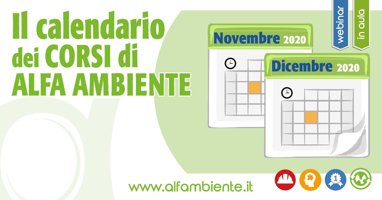 Calendario Corsi Novembre e Dicembre 2020