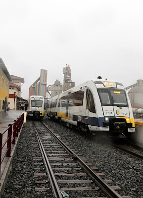 Cruce de trenes de La Robla en Mataporquera