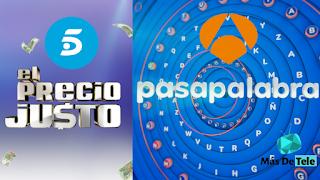 Telecinco emite 'El Precio Justo' contra 'Pasapalabra'