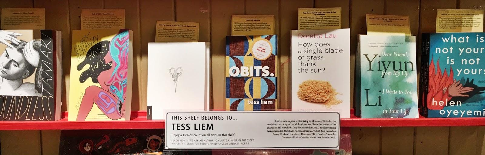 211 Bernard: This shelf belongs to   Tess Liem!