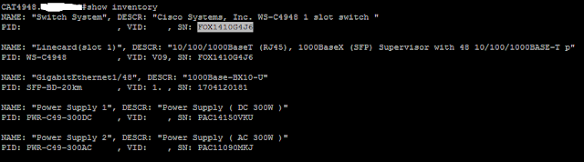 Show Serial Number of Router and Switch Cisco