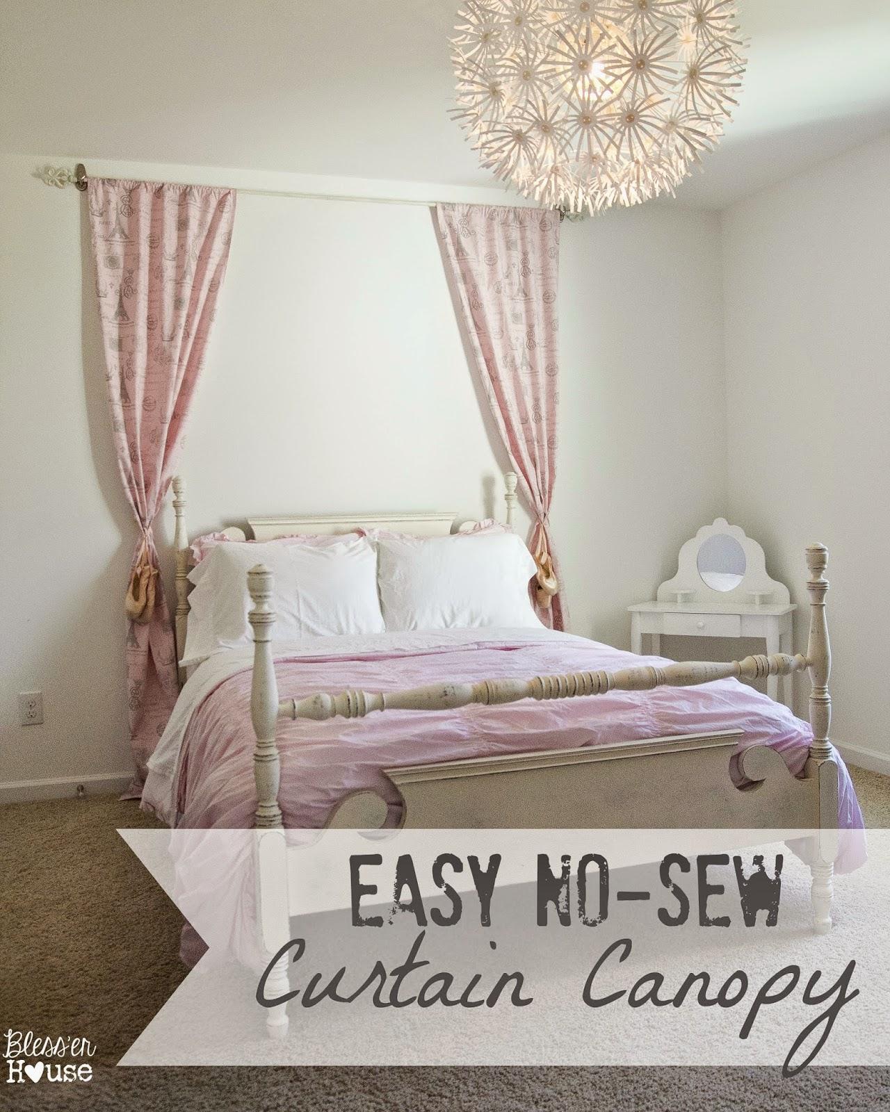 Easy No Sew Curtain Canopy {Little Girl Bedroom Progress}
