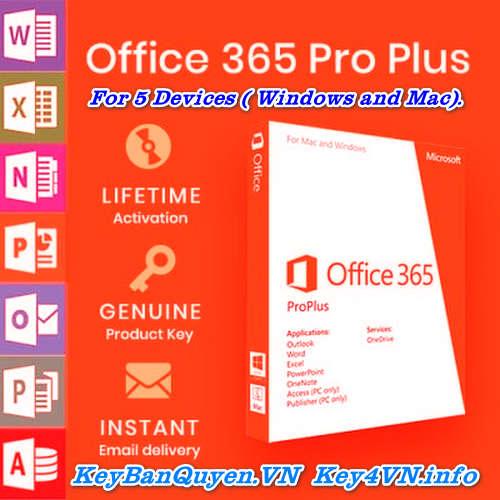 Mua bán key bản quyền Office 365 Pro Plus 5PC trọn đời Full 32 Bit và 64 Bit .