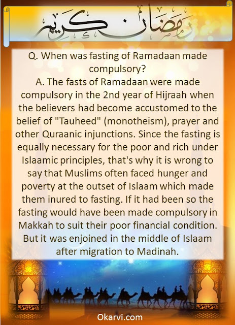 When was fasting of Ramadaan made compulsory?
