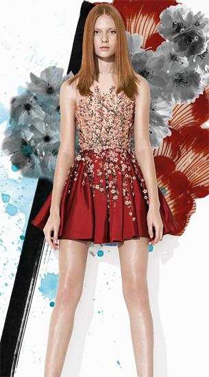 vestido de festa curto com aplicações de flores bordados e pregas Patricia Bonaldi verão 2016