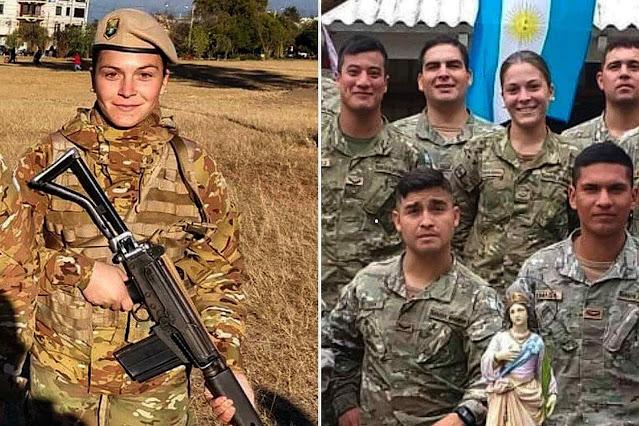 Lucía Herrera junto com soldados da sua unidade.
