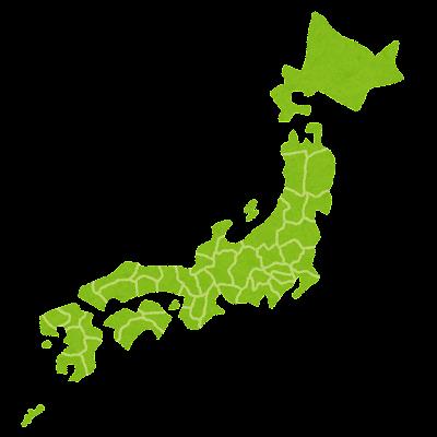 日本地図のイラスト(都道府県ごとに区切り)