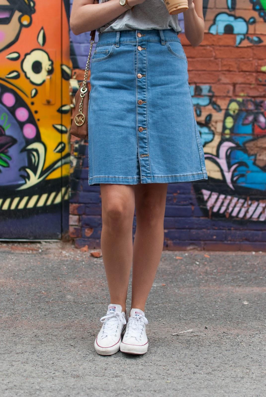 Detail shot of denim skirt