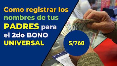LINK registrar el nombre de PADRES para cobrar del 2do #BonoUniversalFamiliar del 10 de octubre