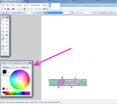 cara memunculkan colors di paint.net
