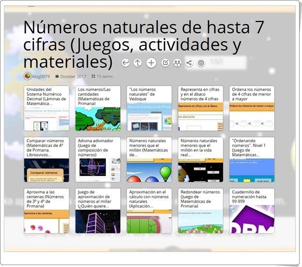 """""""15 Juegos, actividades interactivas y materiales para el estudio de los NÚMEROS NATURALES DE HASTA 7 CIFRAS en 4º de Primaria"""""""