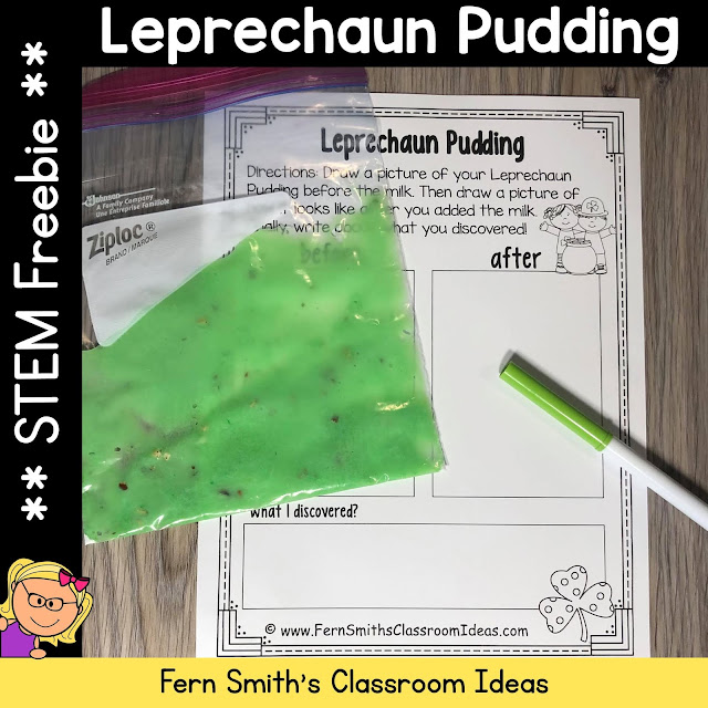 St. Patrick's Day Leprechaun Pudding Science STEM Activity Freebie #FernSmithsClassroomIdeas
