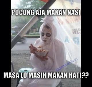 gambar lucu pocong makan bakso