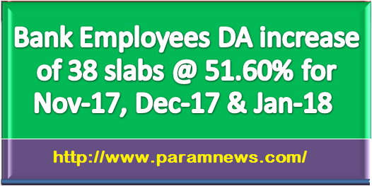 bank-employees-da-increase-of-38-slabs-paramnews-51.60-per-for-nov-17-dec-17-jan-18