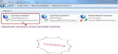 Koneksi Internet PC ke Android