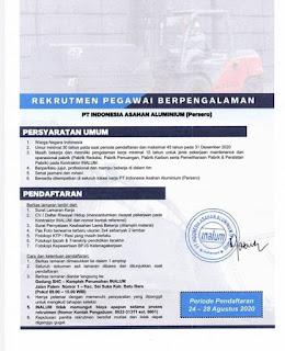 Rekrutmen Pegawai Berpengalaman di Inalum (PT Indonesia Asahan Aluminium)