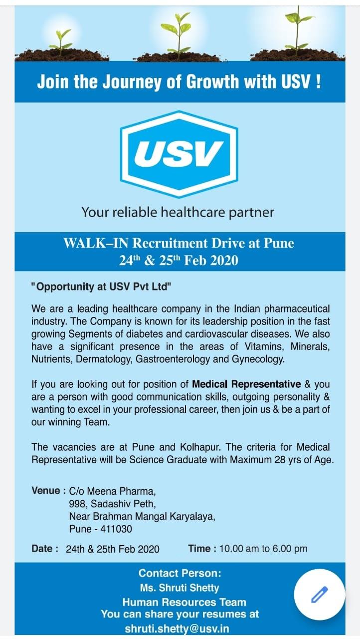 USV Pvt. Ltd – Recruitment Drive at Pune on 24th & 25th Feb' 2020