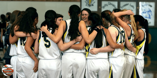 """Featured in the article: """"How To Motivate Youth Basketball Players"""". Know What to Say After a Big Loss, basketball players in the huddle, lost, needing coach's advice"""