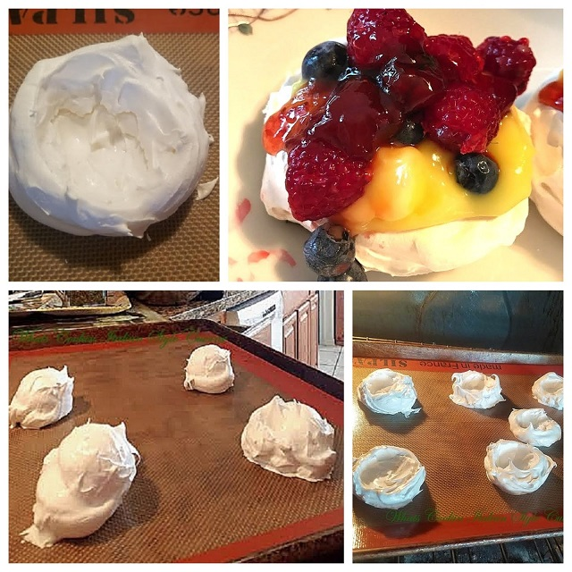this is a collage of meringue cups