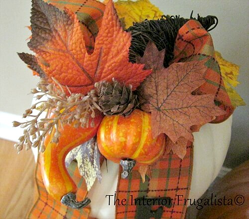Faux Stacked Pumpkins Fall Cornucopia Gourds Pick