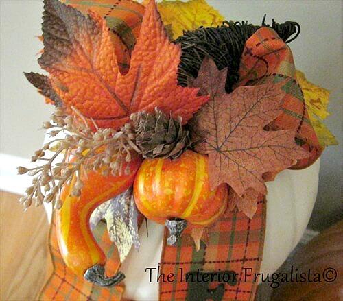 Faux Stacked Pumpkins Fall Cornucopia Gourds Pick