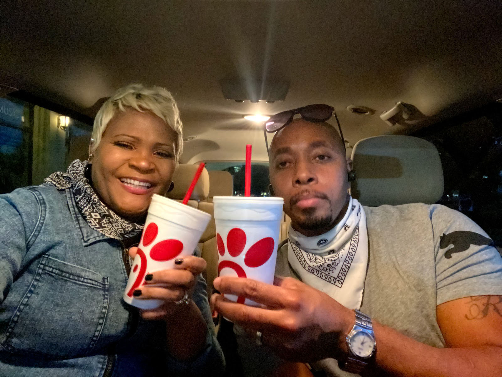 Isolated Date Night In Our Truck: Marriage Babbles: Rico and Tangie eating chick fil a in their truck