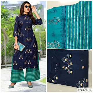 Latest Rayon Foil Print Kurti Sets