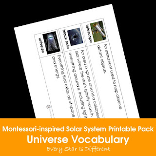 Montessori-inspired Solar System Printable Pack: Universe Vocabulary