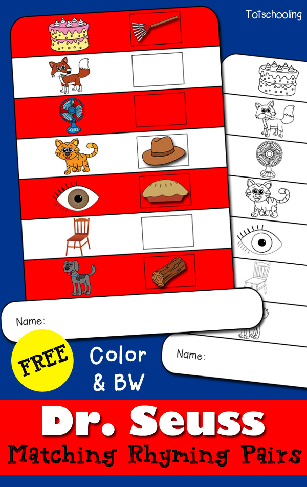 Dr Seuss Matching Rhyming Hat Printable – Rhyming Worksheets for Kindergarten Cut and Paste