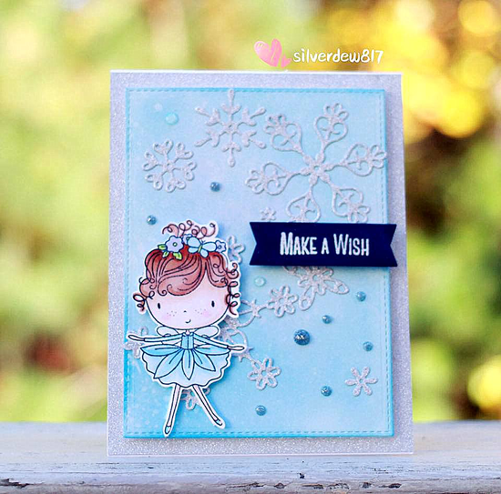 Beautiful Girl stamp set and Die-namics, Stylish Snowflakes Die-namics - Joan Ma #mftstamps
