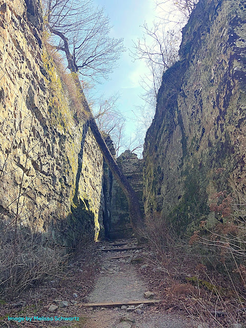 Rock escarpments on either side create an alley to a cave at Giant City State Park.