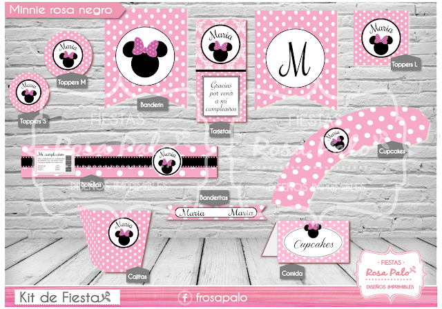 KIT IMPRIMIBLE MINNIE ROSA NEGRO