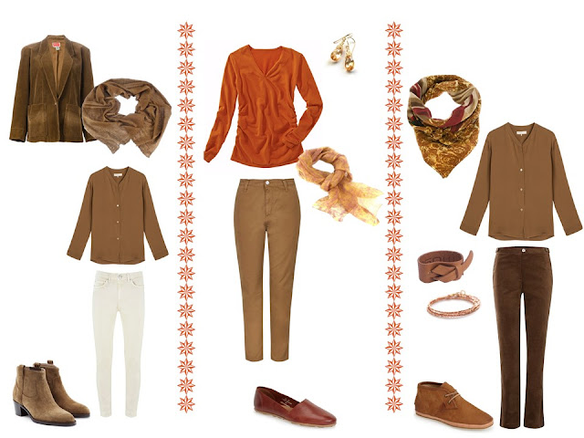 three outfits in warm colors, based on the colors in Flaming June by Sir Frederic Leighton