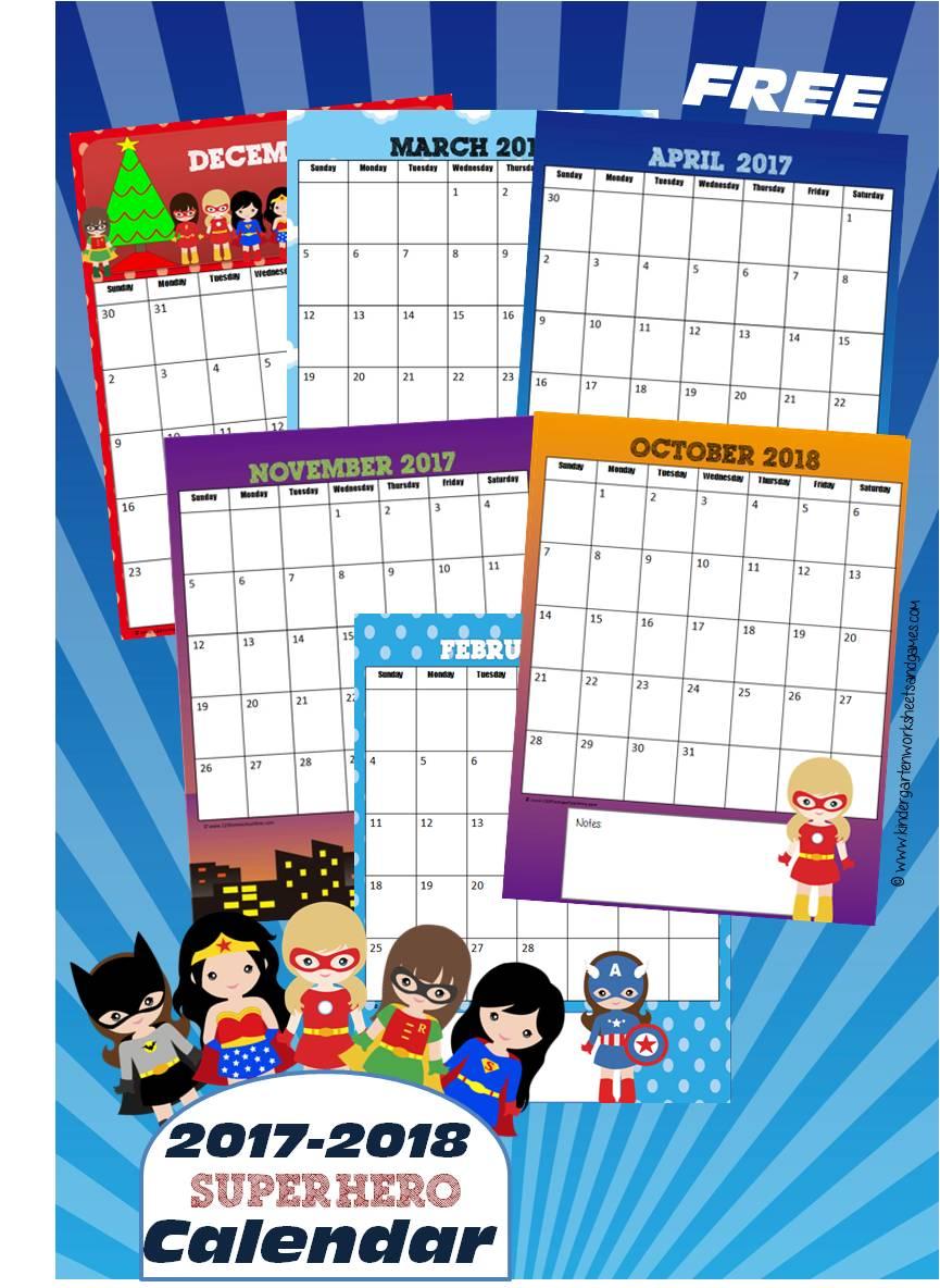 NEW! 2017 2018 Girl Superheroes Printable Calendar