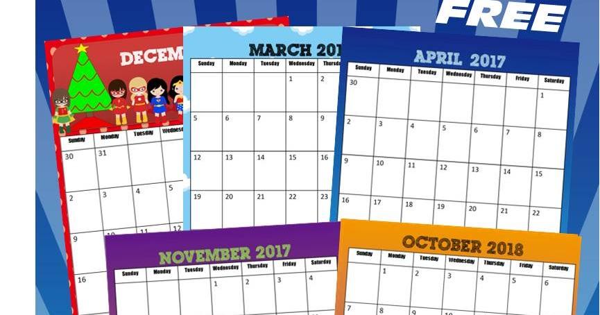 New 2017-2018 Girl Superheroes Printable Calendar-6078